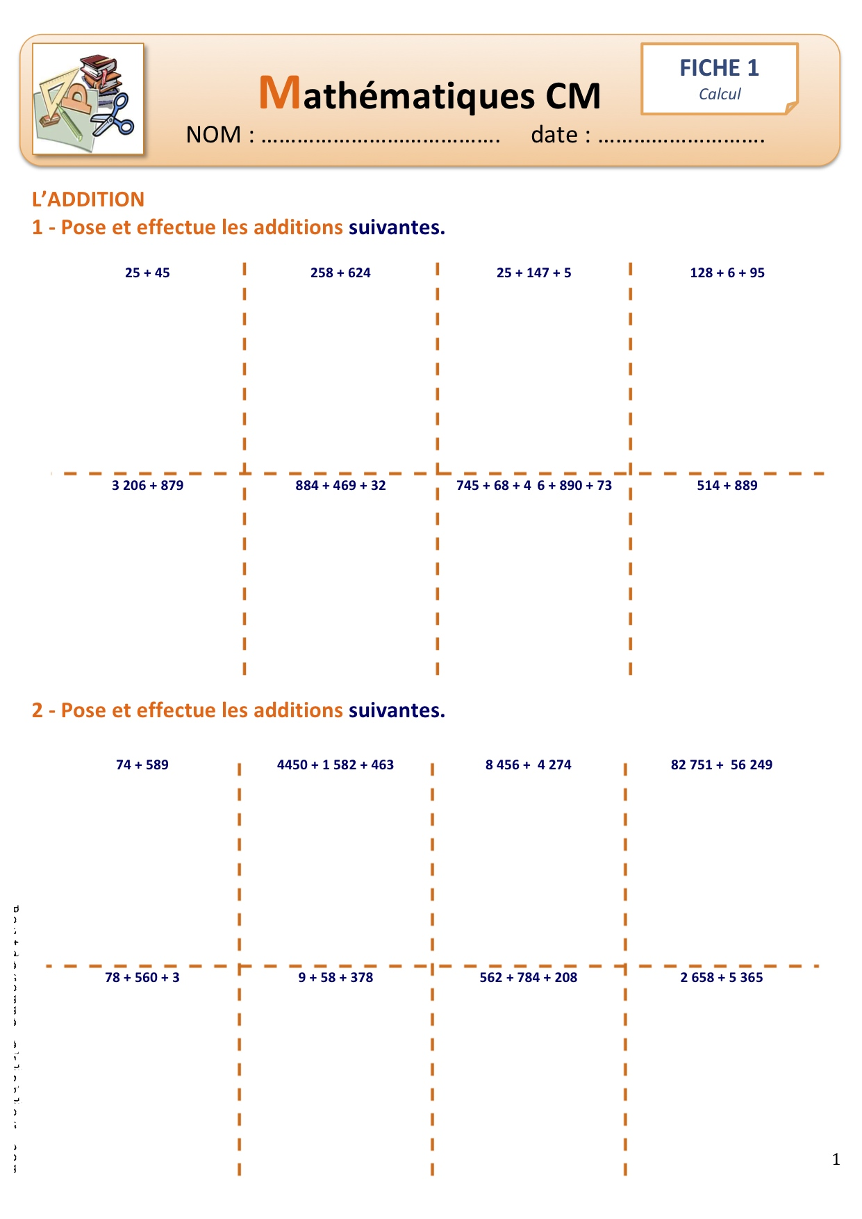 Fiches calcul additions bout de gomme - Exercice soustraction ce2 a imprimer ...